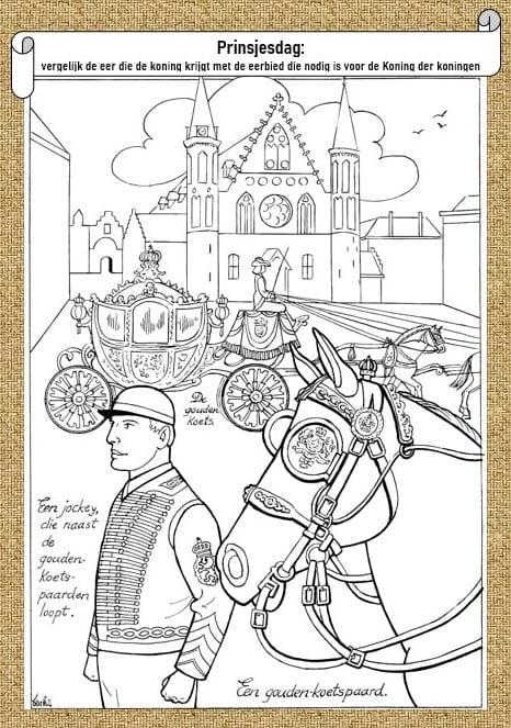 kleurplaat prinsjesdag 5 11 jaar bijbels opvoeden nl