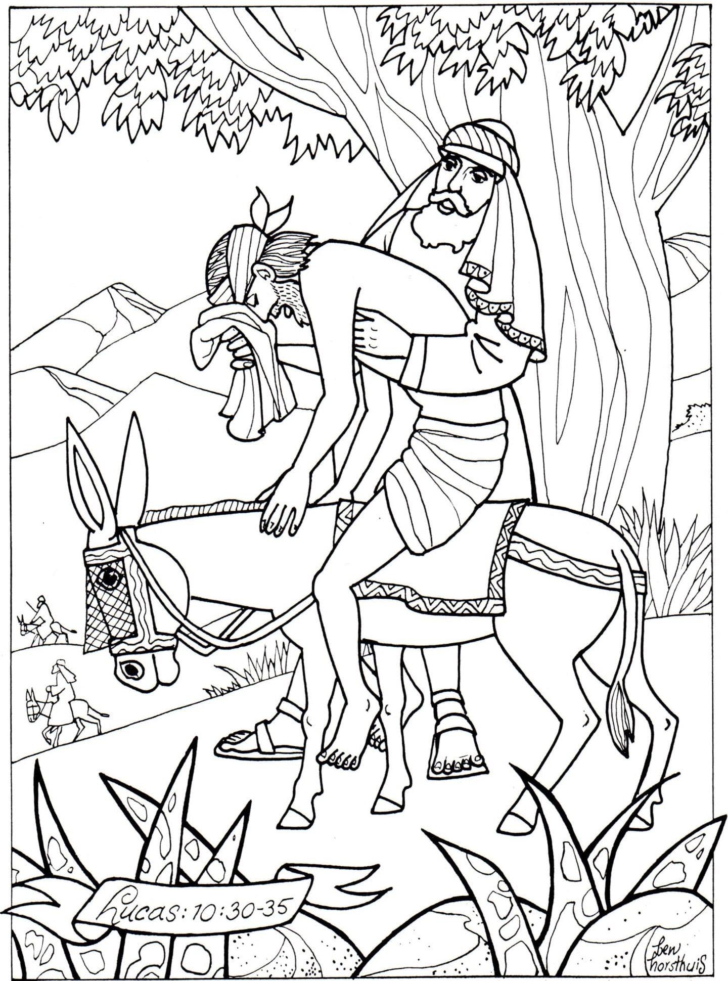 Kleurplaat Barmhartige Samaritaan 3 10 Jaar Bijbels Opvoeden Nl