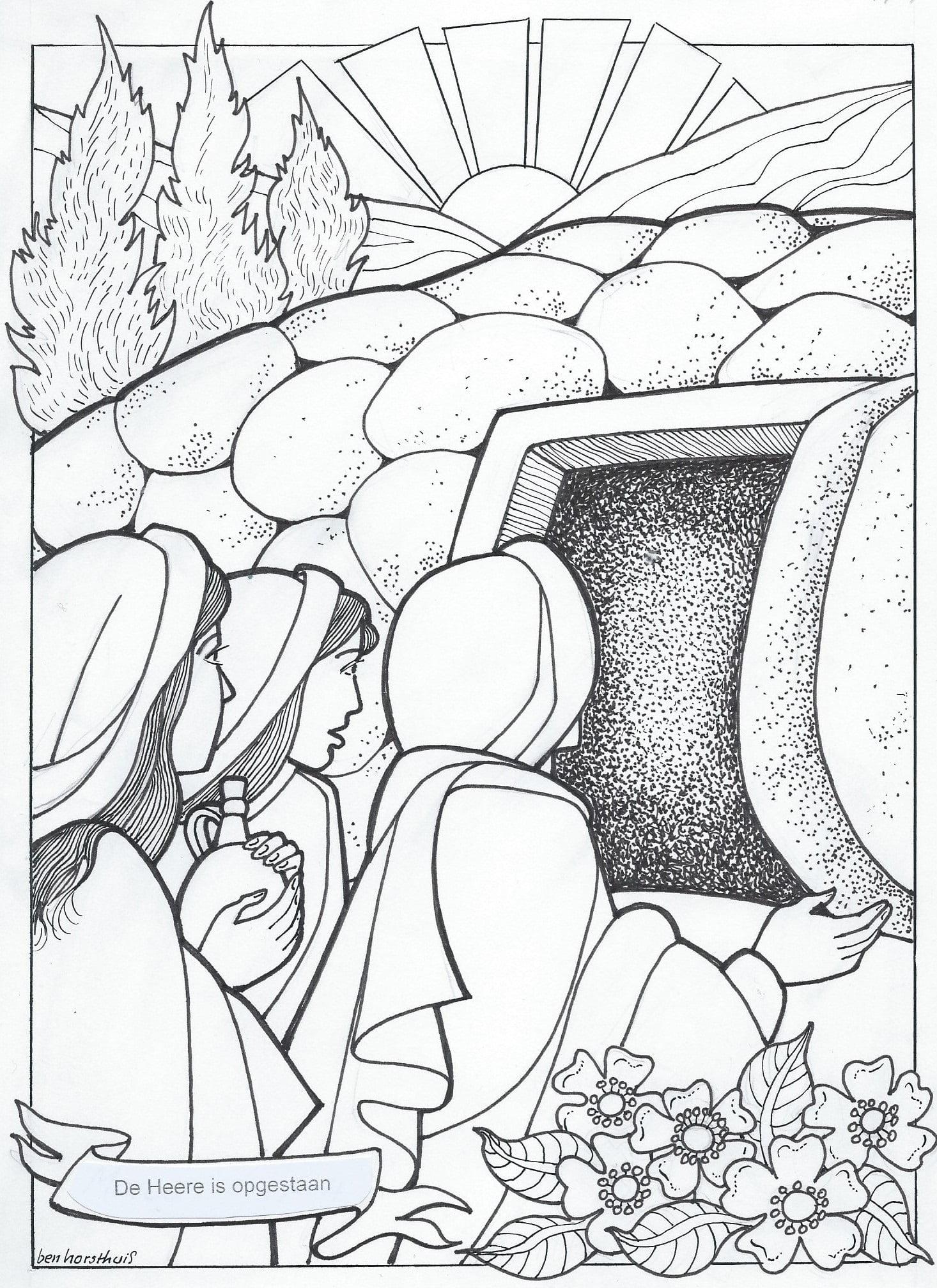 Bijbelse Kleurplaten Pasen.Kleurplaat Paasfeest 3 10 Jaar Bijbels Opvoeden Nl