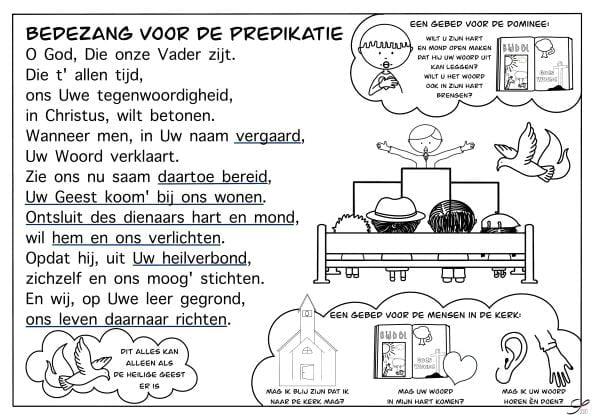 bedezang voor de predikatie kleurplaat bijbels opvoeden nl