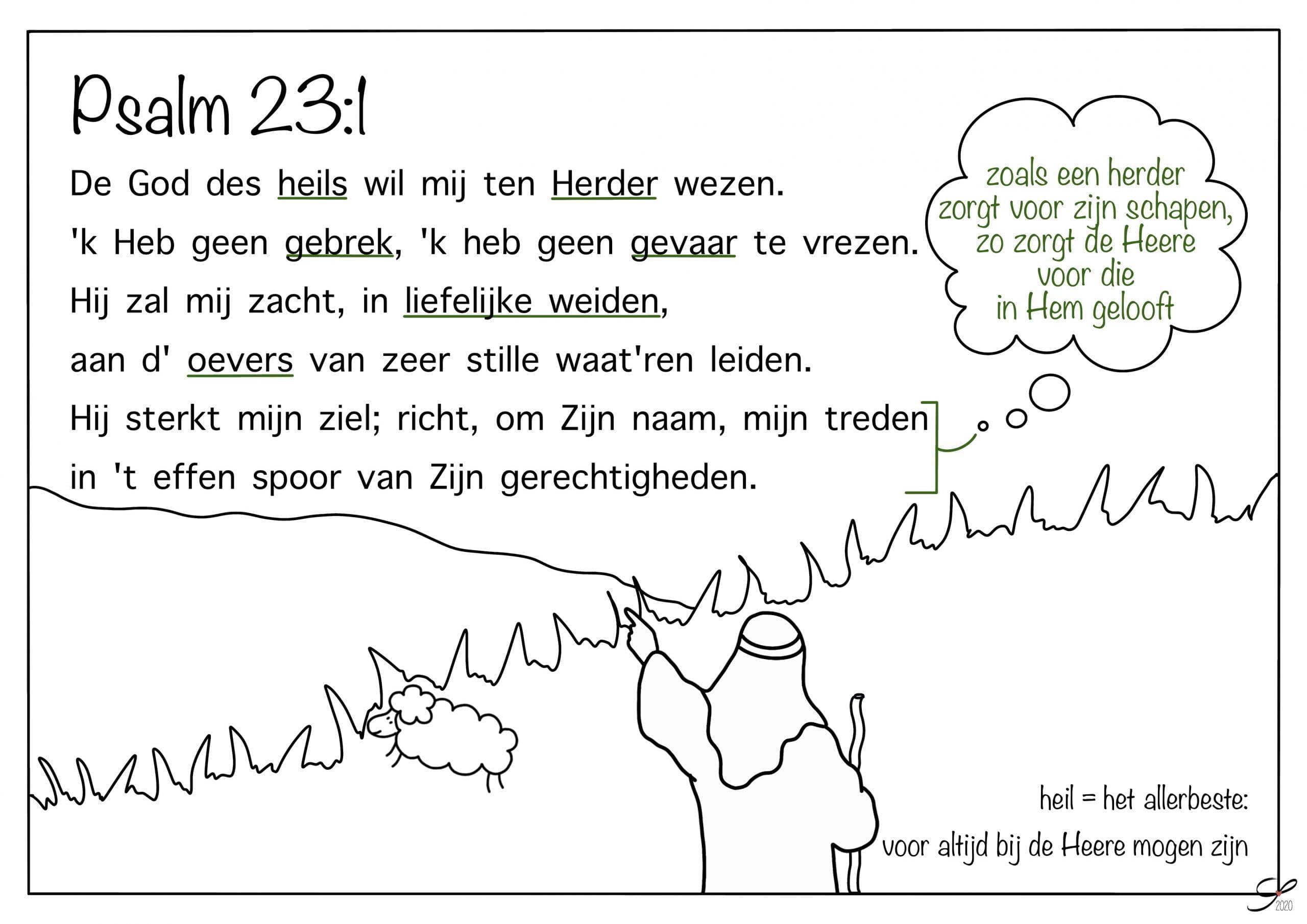 psalm 23 vers 1 kleurplaat bijbels opvoeden nl