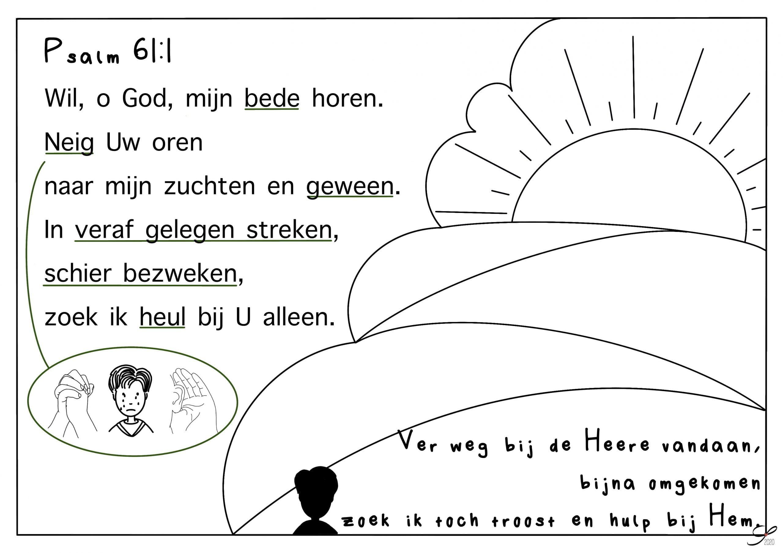 psalm 61 vers 1 kleurplaat bijbels opvoeden nl