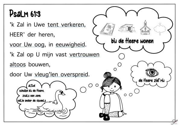 psalm 61 vers 3 kleurplaat bijbels opvoeden nl
