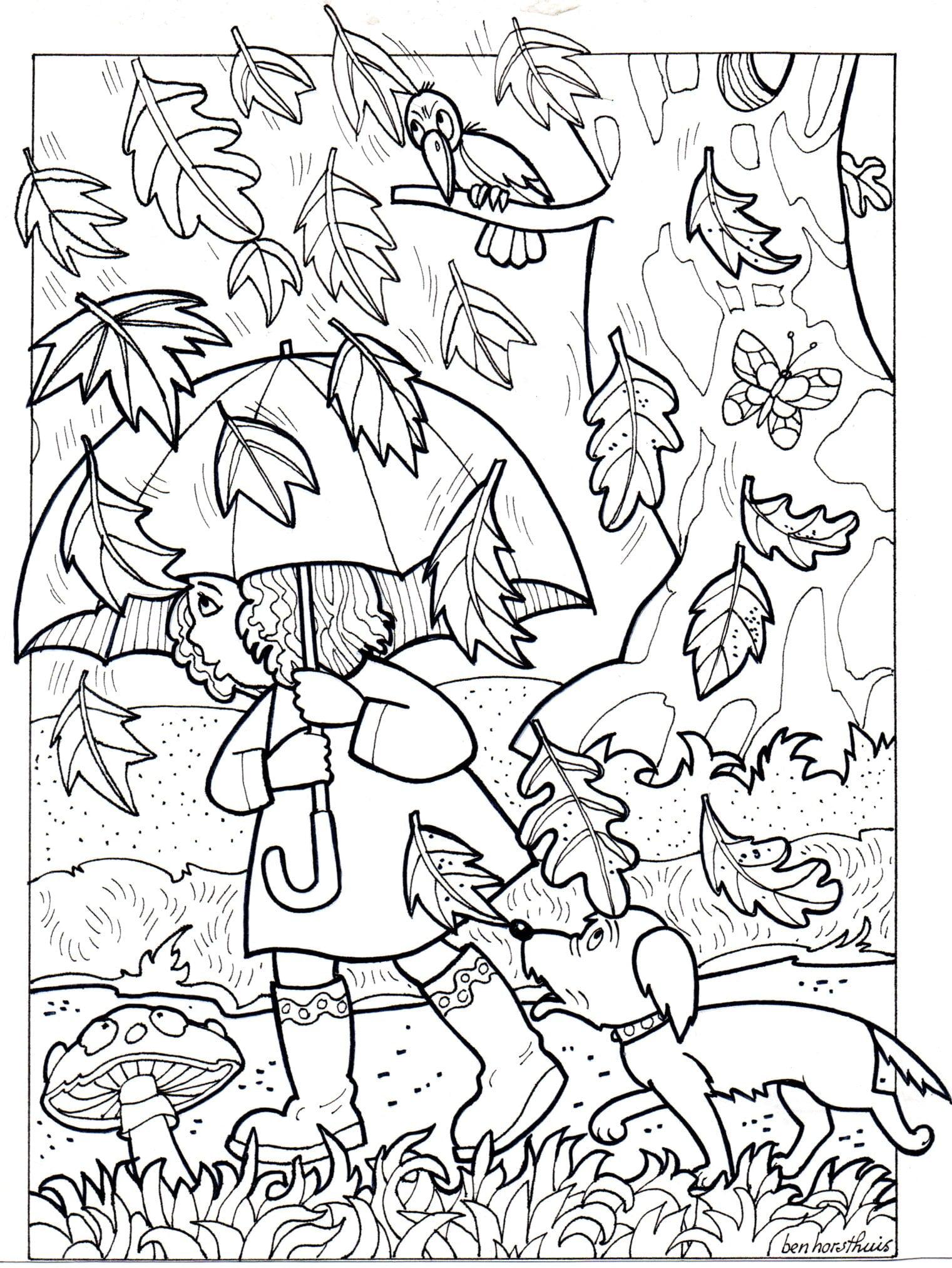 kleurplaat herfstbladeren 3 10 jaar bijbels opvoeden nl