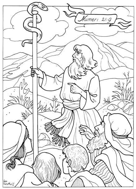 kleurplaat ziekte koperen slang bijbels opvoeden nl